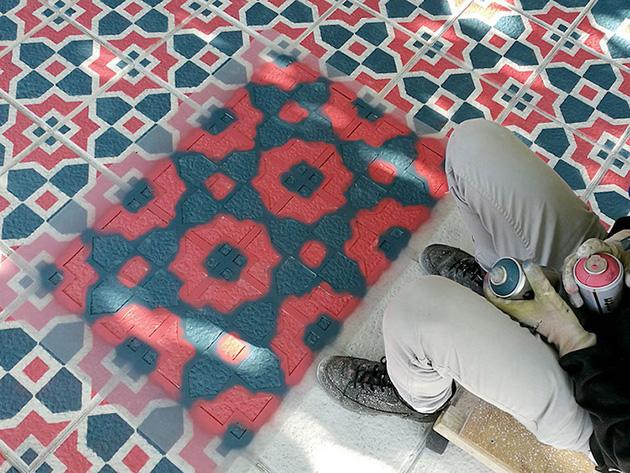 graffiti-floor-spray-paint-tile-pattern-installations