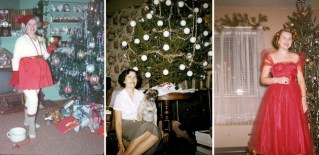 30 Interesting Vintage Snapshots Captured Middle-Aged Women Posing Next To Christmas Trees from the 1950s-60s