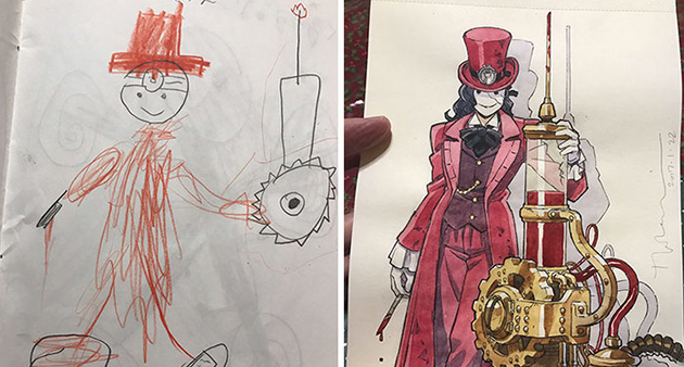 Father Creates Anime Characters Based Off His Kids' Doodles