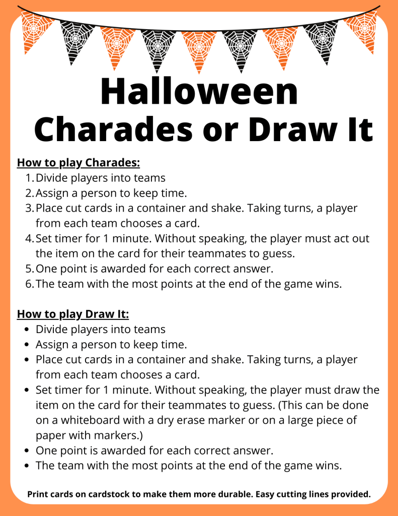 Halloween Chardes for recess and brain breaks