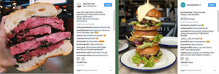 Ejemplos de foodporn (hamburguesa enorme y bocadillo de ternera) en post sobre alimentación consciente