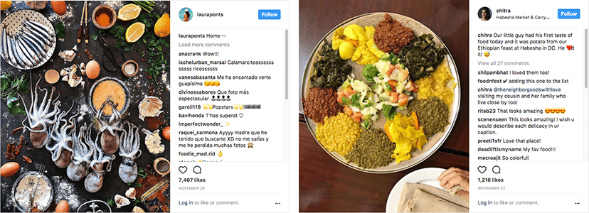 Ejemplo de mindfoodness (calamares y plato de hummus) en post sobre alimentación consciente