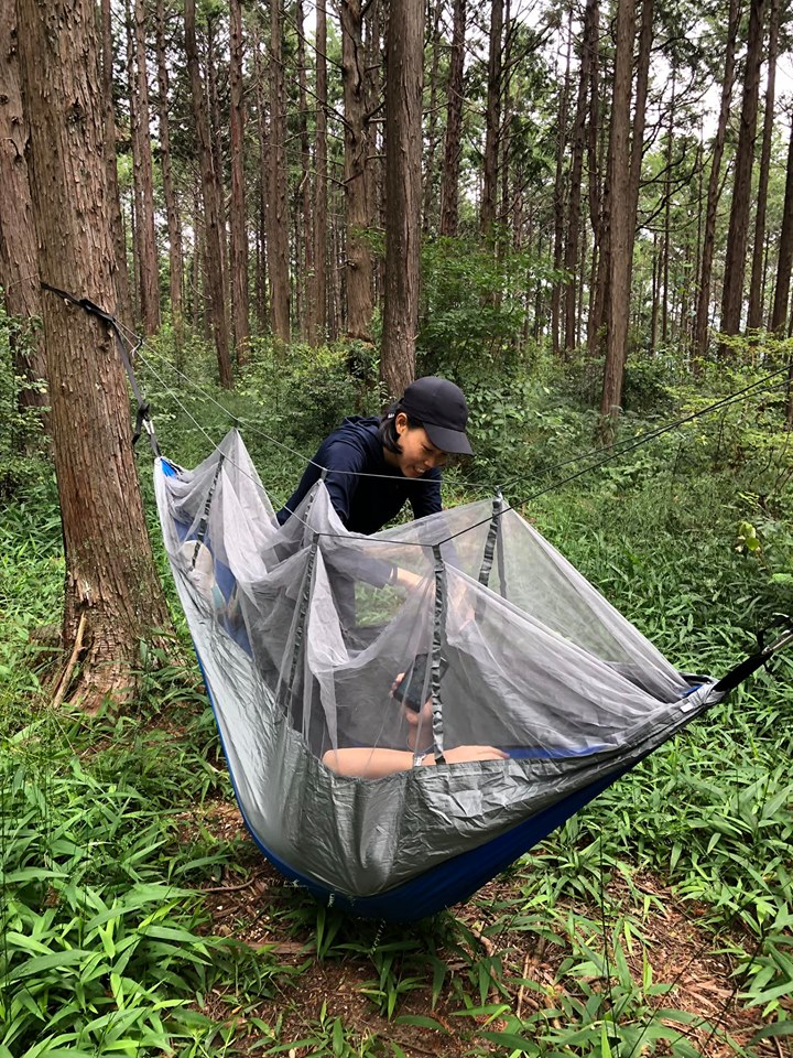 Staying in a hammock in the forest