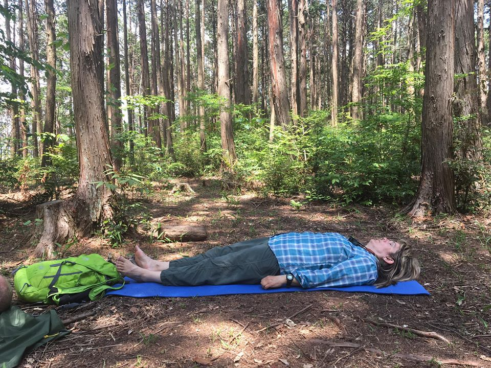Shinrin Yoku Certification Training in Japan with The Mindful Tourist a woman earthing in silence