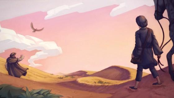 the_alchemist_santiago_in_sand