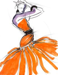 Tony Viramontes's illustration of Christian Dior Haute Couture, 1986.