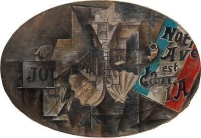 """The Scallop Shell: """"Notre Avenir est dans l'Air"""" Pablo Picasso Date: Paris, spring 1912 Medium: Enamel and oil on canvas"""
