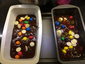 Gooey decorated brownies, with nuts