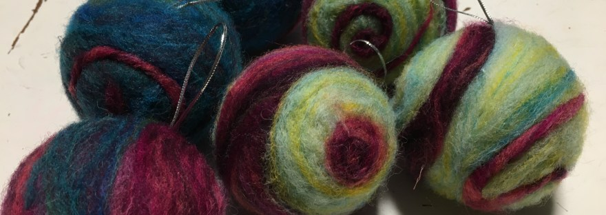 beginners needle felted baubles
