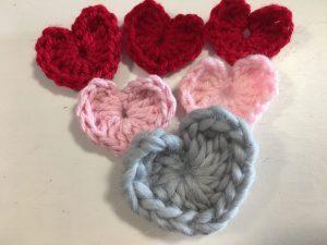 crochet heart made from scrap yarn
