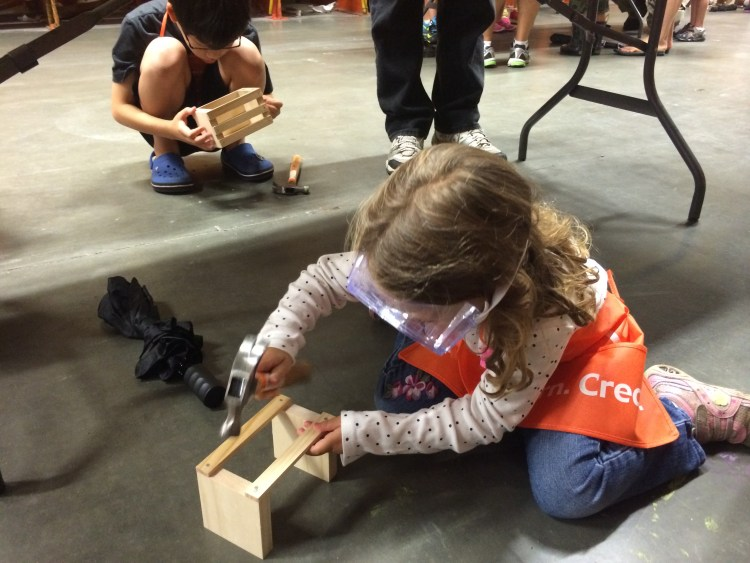 The Mint Chip Mama Little Girl at Home Depot Building something