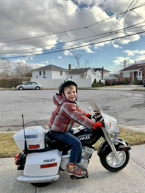 A little boy On a Ride on motorcycle