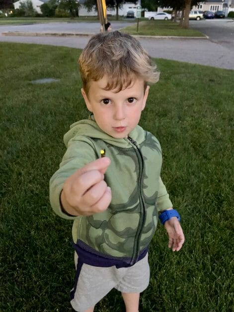 A little boy holding a firefly he caught at dusk on the 4th of July