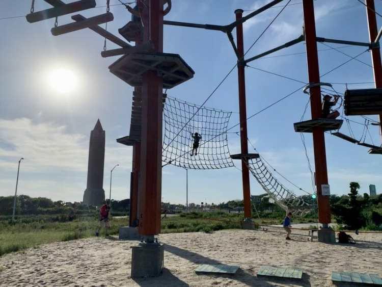 A little boy at Wild Play at Jones Beach. Zipline & Ropes Courses on Long Island.