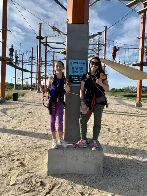 A mom and daughter at Wild Play at Jones Beach. Zipline & Ropes Courses on Long Island.