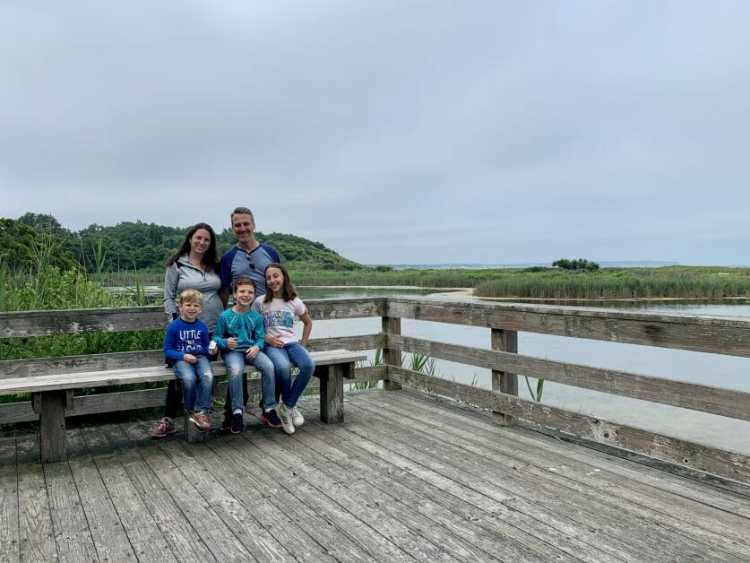 A family of five on a hike in Greenport, Long Island