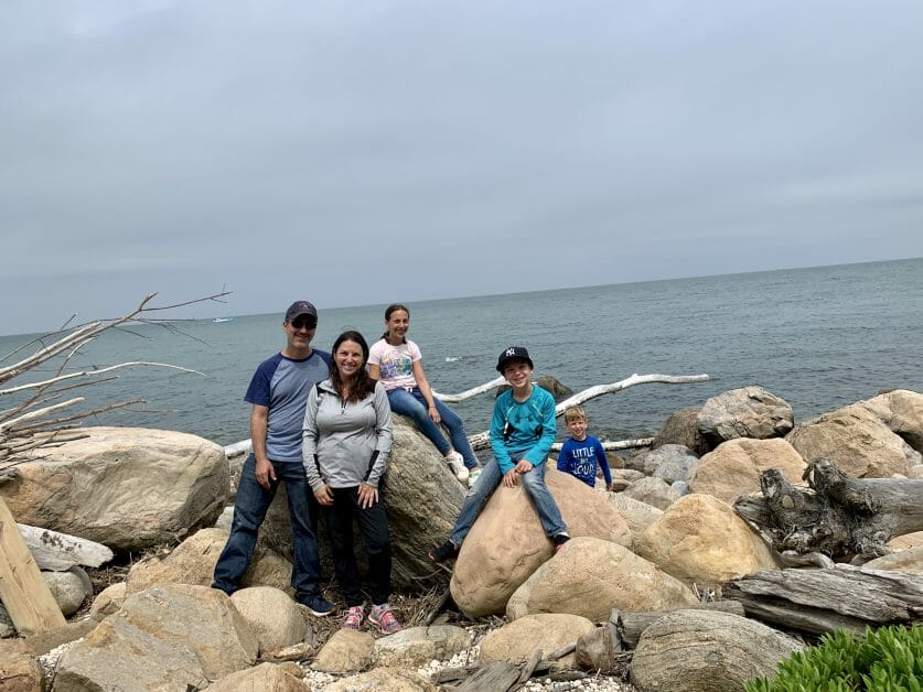 A family of 5 on a beach hike in Greenport, Long Island