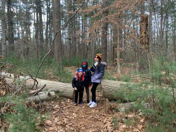More Family Hikes on Long Island, 3 kids at Islin Preserve