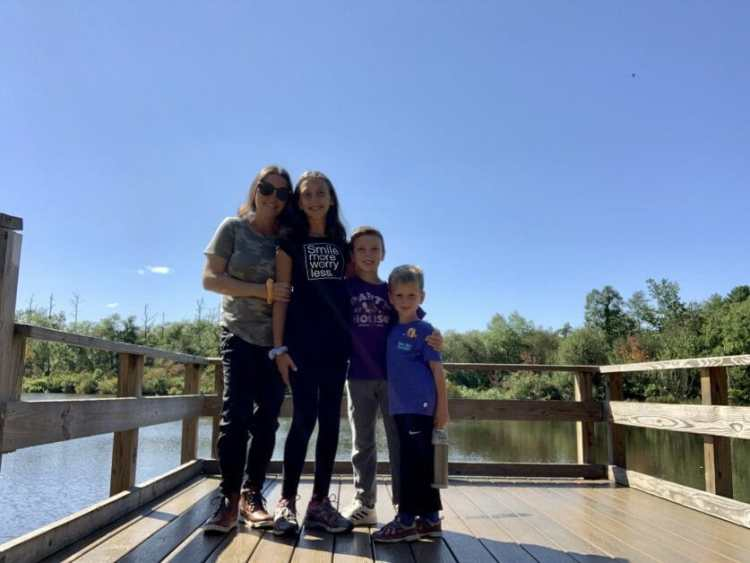 More Family Hikes on Long Island, a mom and 3 kids at Lakeland County Park