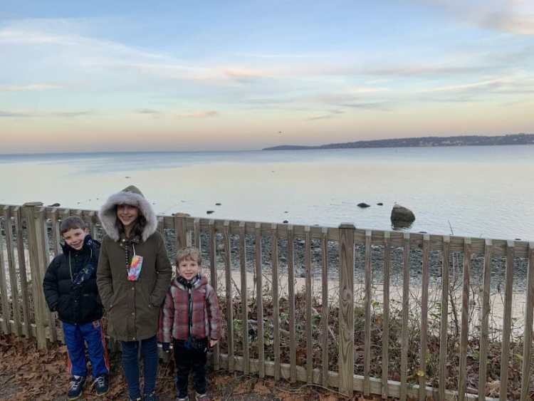More Family Hikes on Long Island, 3 kids at Target Rock Nature Preserve