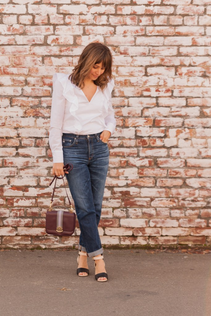 AG Jeans, Boohoo white shirt, cynthia rowley purse, gemma bag, chloe bicolor shoes