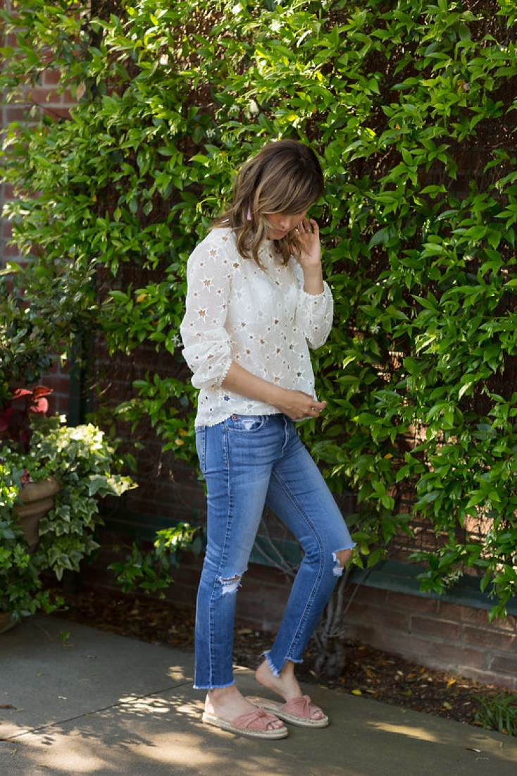 lovely papa top, joes jeans, kendall kylie espadrilles