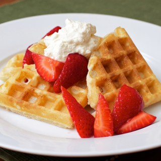 Waffles with Macerated Strawberries