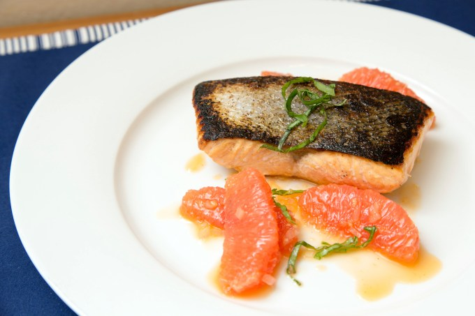 Seared Salmon with Shallot-Grapefruit Sauce 2