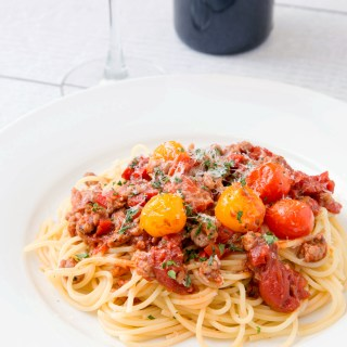 Spaghetti with Sausage and Grape Tomato Ragu