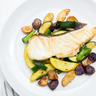 Halibut with Summer Squash and Roasted Potatoes