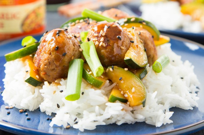 Hoisin Pork and Turkey Meatballs with Zucchinis