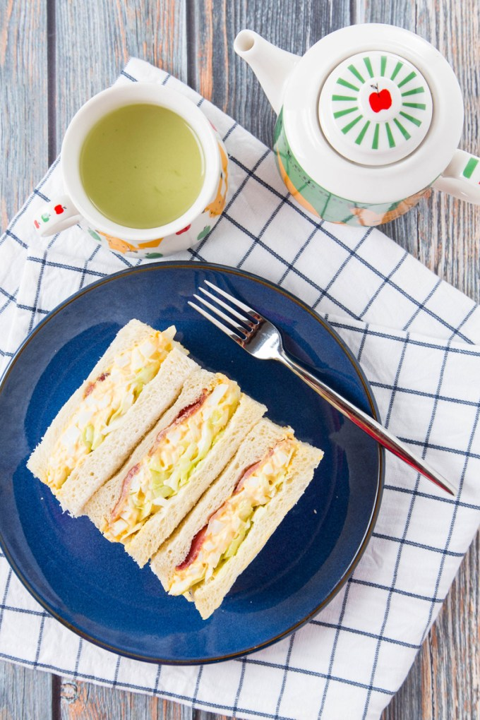 Japanese Egg Salad Sandwich With Bacon And Coleslaw The Missing Lokness