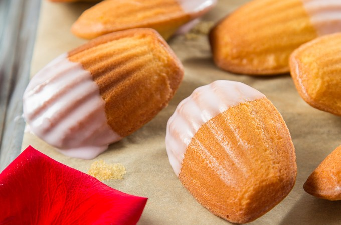 Brown Butter Madeleines with Rose Glaze