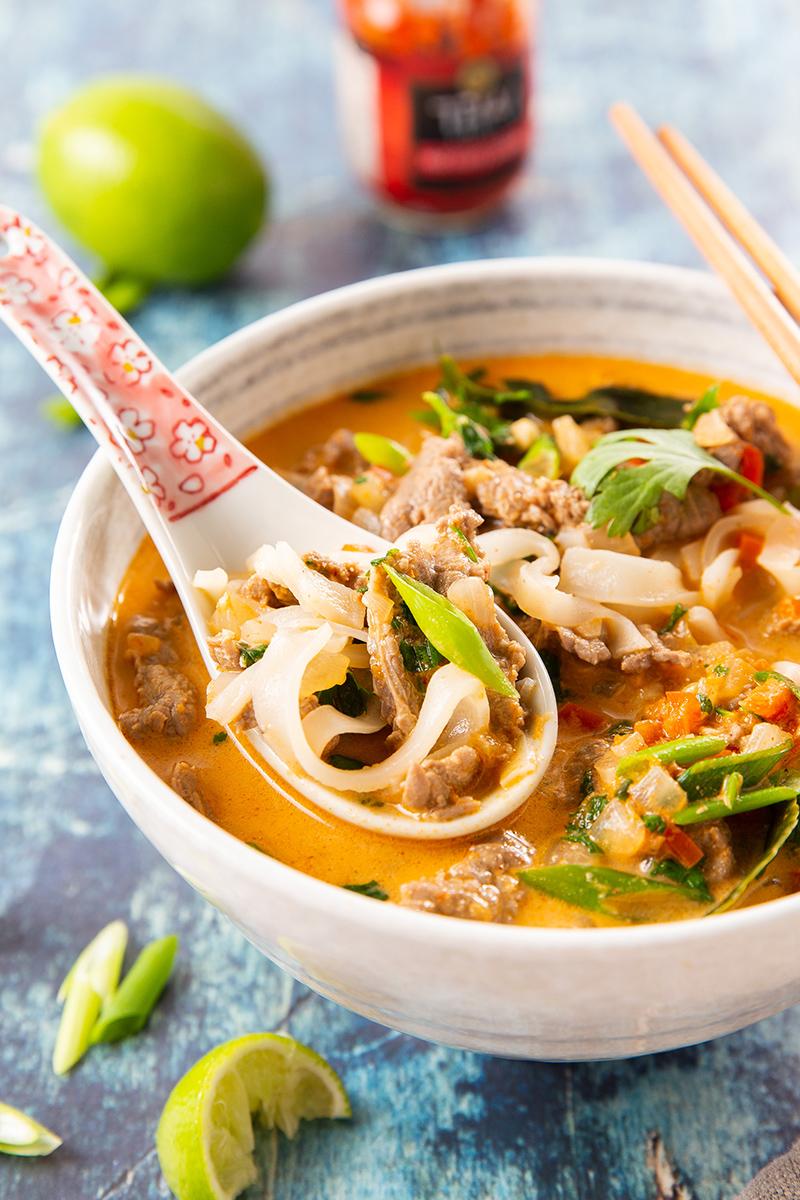 Thai Coconut Curry Beef Noodle Soup