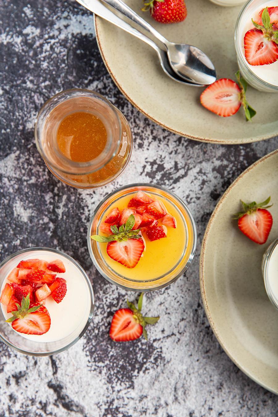 Yogurt Panna Cotta w/ Strawberry & Honey   Silky smooth, creamy, little tangy & sweet. It's an excellent summer dessert. #pannacotta #honey #greekyogurt #nobake #gelatin #strawberry #dessert #dessertrecipe #easyrecipe #dinnerparty #makeahead   The Missing Lokness
