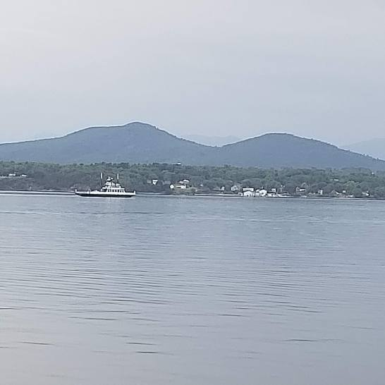 Champlain Ferry with an Adirondack backdrop