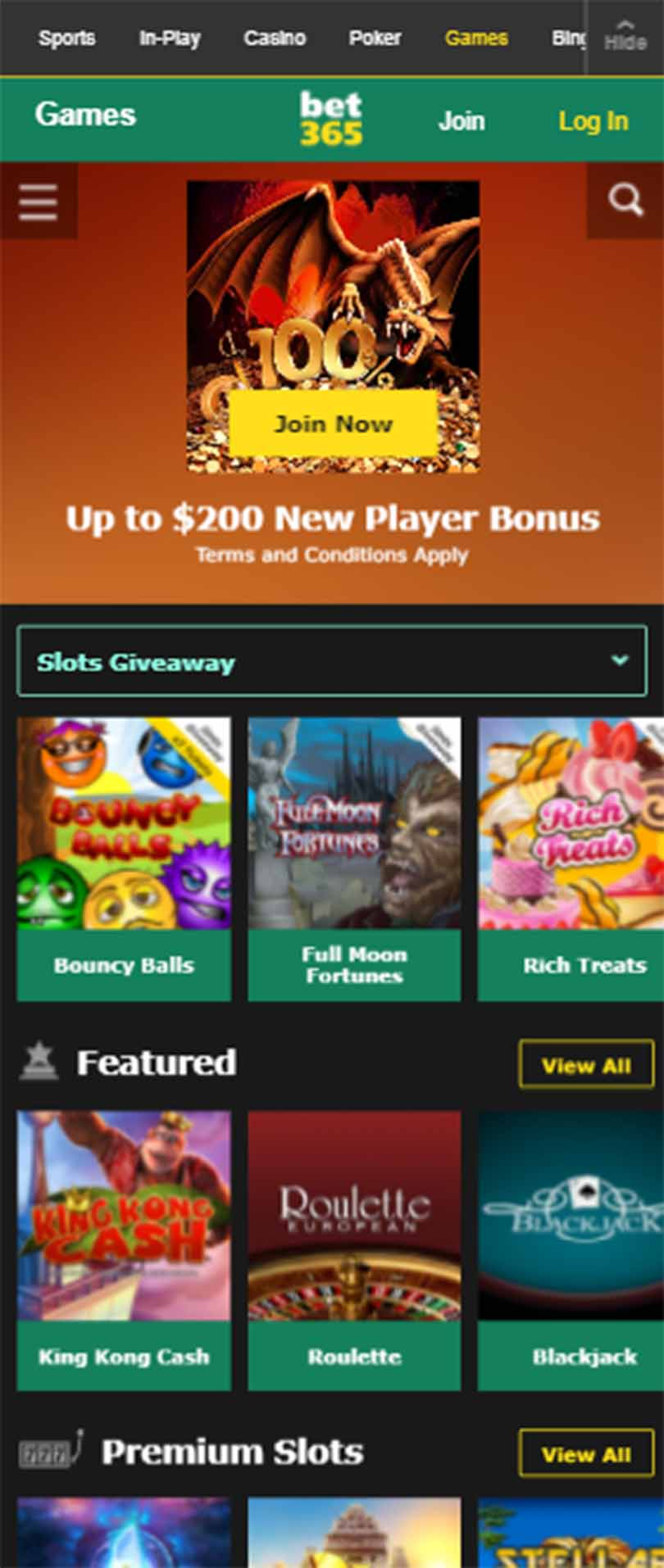 casino bet365 mobile