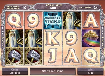 thunderstruck II mobile slots free spins