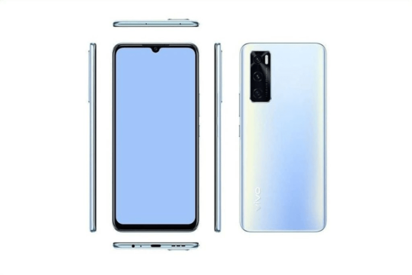 Vivo V20 SE render in Blue-white