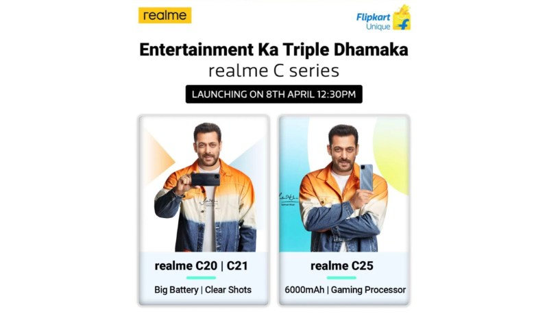 Realme C20, C21 and C25 launch poster