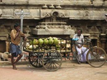 Coconut sellers by the temple