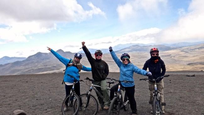 Mountain biking on Volcan Cotopaxi, Ecuador