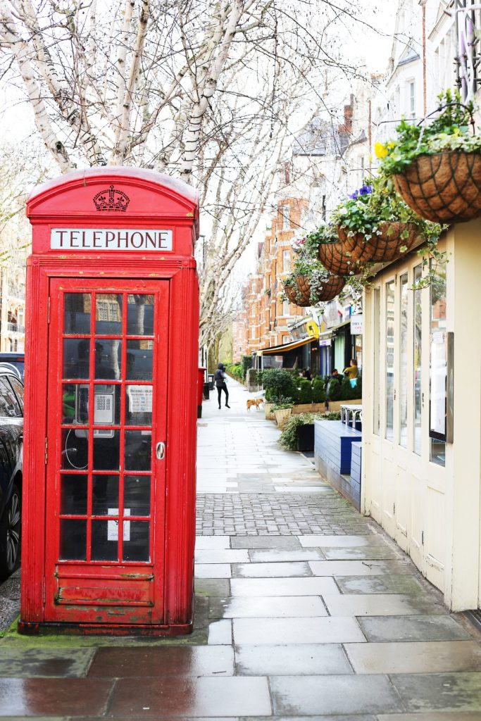 A red iconic telephone booth in London