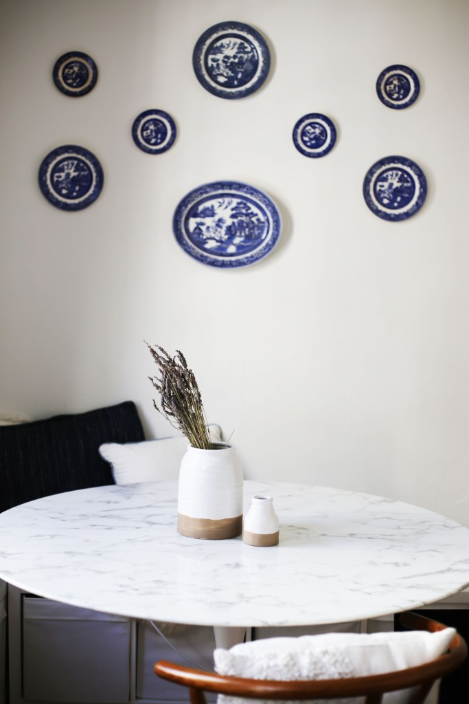 My adorable dining room with blue willow plates