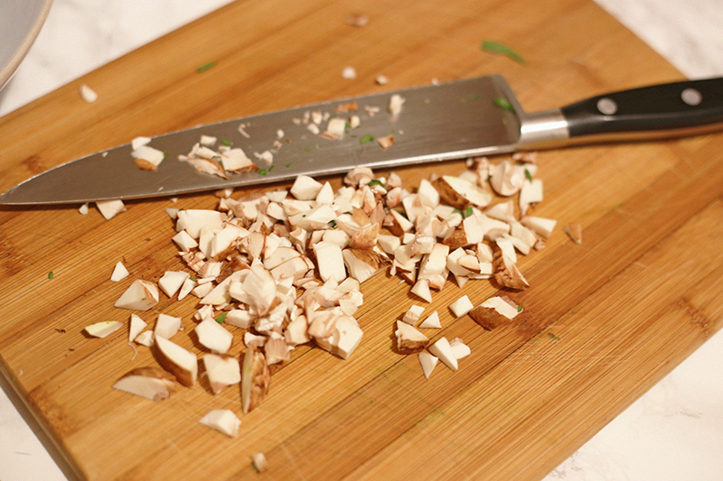 Mushrooms diced and ready to be added to the fall pumpkin Alfredo