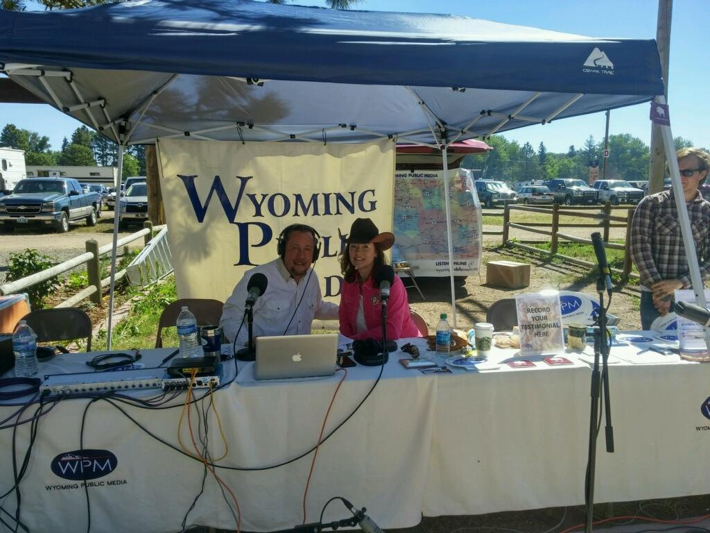 Morning Music's Paul Montoya speaking with Lisa Murphy, a member of the board of directors for Cheyenne Frontier Days.