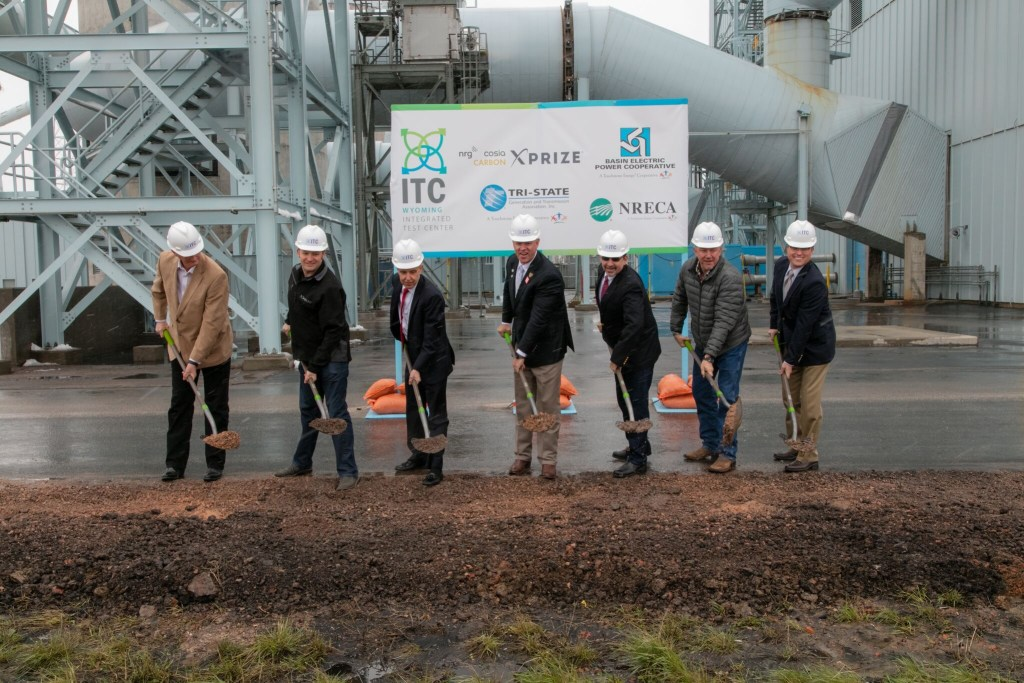 """Former Gov. Matt Mead, middle, at the 2016 groundbreaking ceremony for the Integrated Test Center. Wyoming legislators allocated $15 million of state funds alongside $6 million from the private industry for its construction. """"A glimmer of hope came for the state's beleaguered coal industry this week,"""" read a press release."""