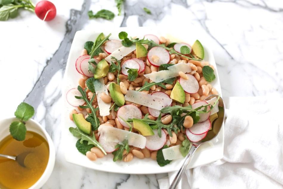 White Beans with Avocado, Radishes and Arugula