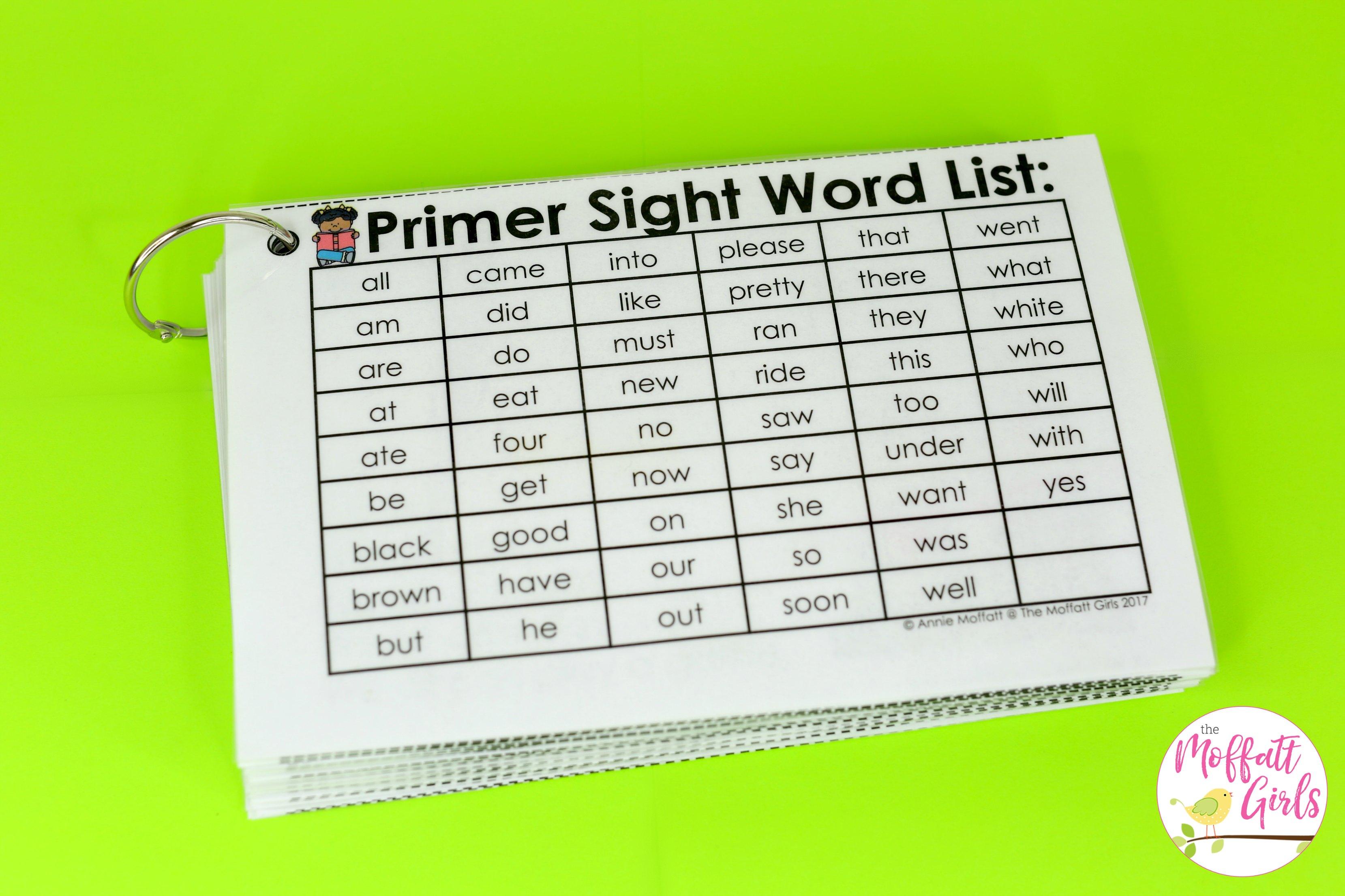 Primer Fluency Sentences 2b