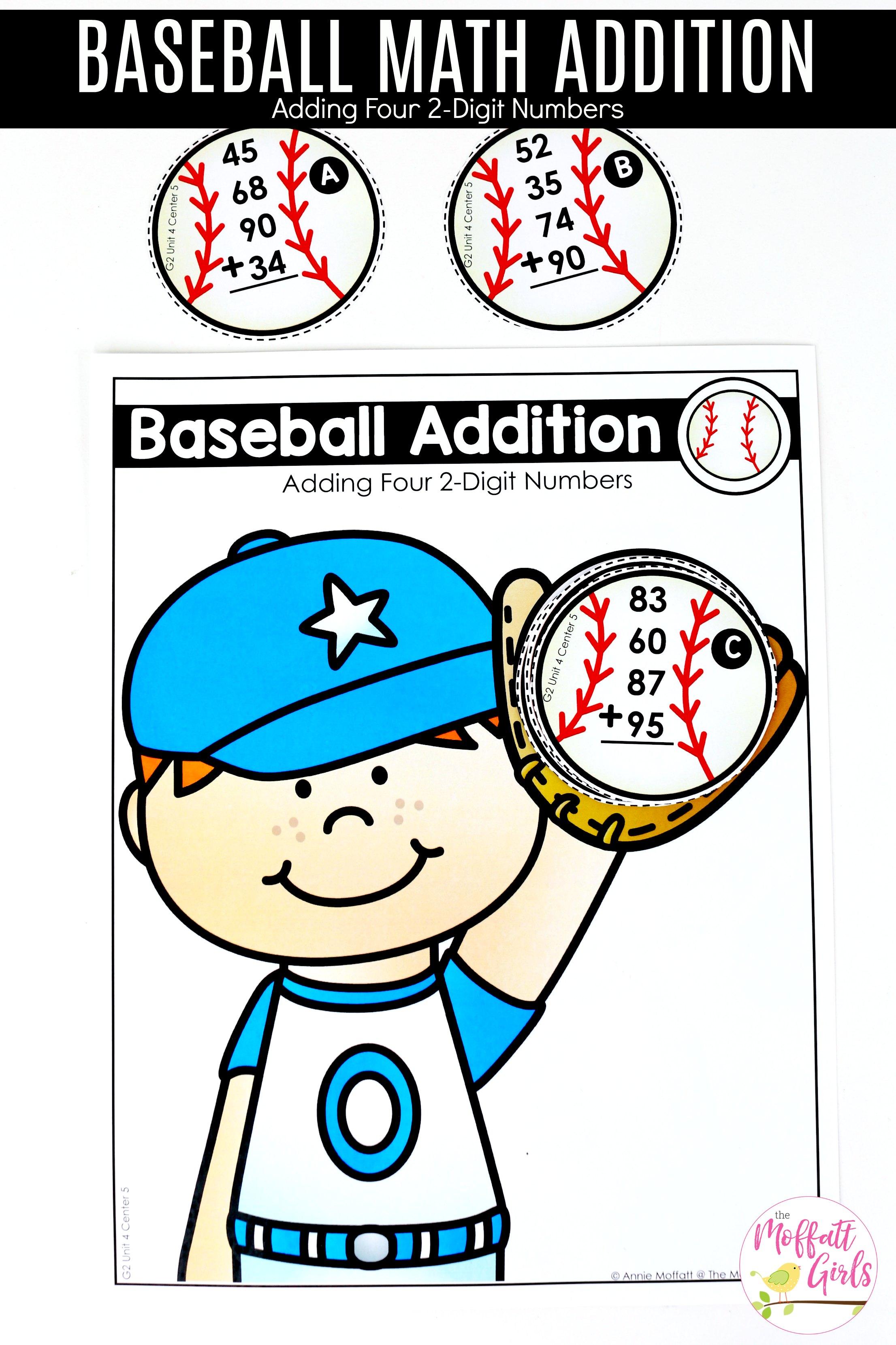 Center 5 Baseball Math Addition 1b